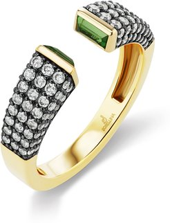 Diamond Pave Bezel Set Open Ring