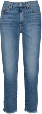 7 For All Mankind Fray Hem Straight Ankle Jeans