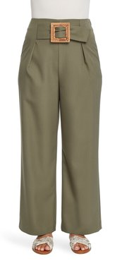 Belted Wide Leg Twill Pants