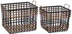 """Willow Row Medium Rectangular Black Bamboo And Antique Gold Metal Basket With Handles - Set Of 2: 14"""" - 24"""" at Nordstrom Rack"""