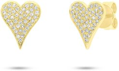 Ron Hami 14K Yellow Gold Pave Diamond Heart Stud Earrings - 0.17 ctw at Nordstrom Rack