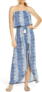 Snake Print Cover-Up Maxi Dress