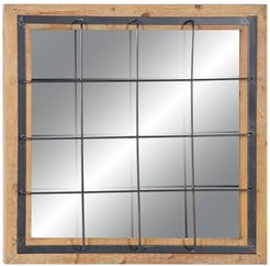 Willow Row Contemporary Square Iron And Wood Grid-Patterned Wall Mirror at Nordstrom Rack