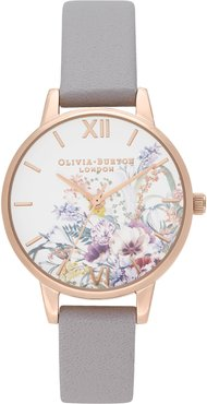 Enchanted Garden Leather Strap Watch, 30mm