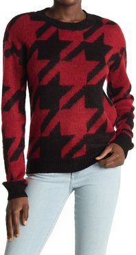 Love by Design Long Sleeve Hounds Tooth Crewneck Sweater at Nordstrom Rack