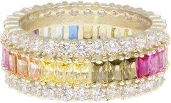 Wide Halo Rainbow Eternity Ring