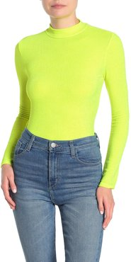 Know One Cares Mock Neck Long Sleeve Metallic Knit T-Shirt at Nordstrom Rack