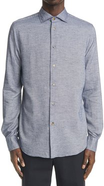 Donegal Herringbone Long Sleeve Button-Up Shirt
