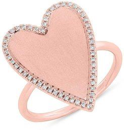 Ron Hami 14K Rose Gold Pave Diamond Halo Heart Ring - 0.12 ctw - Size 7 at Nordstrom Rack