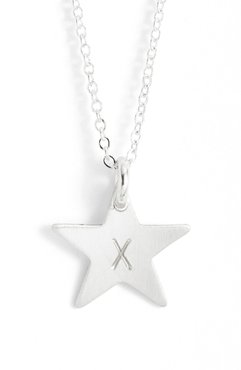 Sterling Silver Initial Mini Star Pendant Necklace