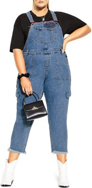 Plus Size Women's City Chic Jean Wild Straight Leg Crop Overalls