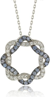 Suzy Levian Sterling Silver Blue & White Sapphire & Diamond Acent Whimsical Circle Pendant Necklace at Nordstrom Rack