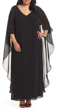 Plus Size Women's Xscape Cape Overlay Chiffon Gown