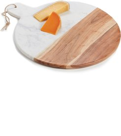 At Home Round Marble & Acacia Wood Serving Board