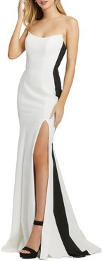 Colorblock Strapless Trumpet Gown
