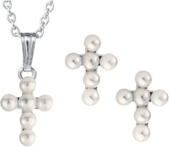 Girl's Mignonette Cultured Pearl Cross Pendant Necklace & Earrings Set