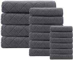 ENCHANTE HOME Glossy Turkish Cotton 16-Piece Towel Set - Anthracite at Nordstrom Rack