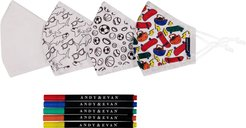 4-Pack Youth Coloring Face Masks & 5-Pack Fabric Markers Set