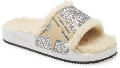 Poolstar Genuine Shearling & Glitter Slide Sandal