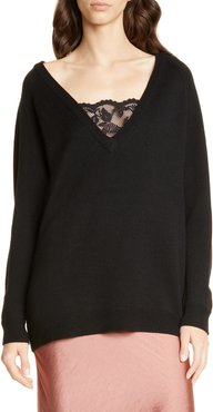 Lace Inset V-Neck Merino Wool Blend Sweater
