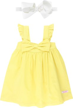 Infant Girl's Rufflebutts Yellow Bow Dress & Bow Head Wrap Set