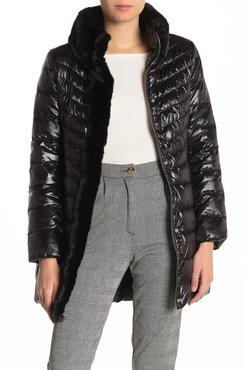Karl Lagerfeld Faux Fur Collar Quilted Puffer Jacket at Nordstrom Rack