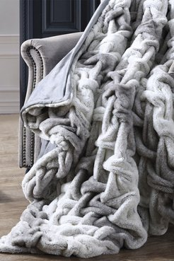 Modern Threads Faux Fur Braided Reversible Throw - Silver at Nordstrom Rack