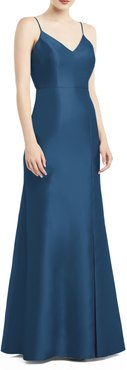 Bow Back Satin Twill Trumpet Gown