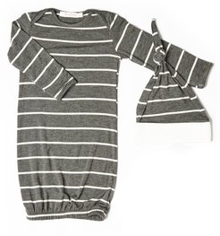 Infant Boy's Baby Grey By Everly Grey Stripe Gown & Hat Set