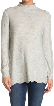 LOVE LILI Mock Neck Scallop Hem Tunic at Nordstrom Rack