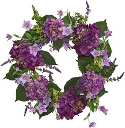 """NEARLY NATURAL Purple 24"""" Hydrangea Artificial Wreath at Nordstrom Rack"""