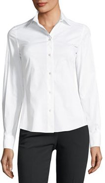 Classic Button-Front Long-Sleeve Blouse