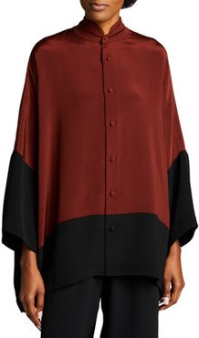 Stand Collar Colorblock Button-Down Blouse