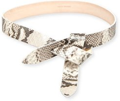 Lecce Snake Embossed Leather Knot Belt