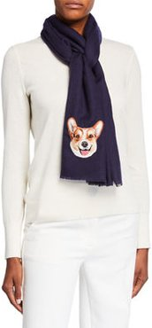 Dog Face Embroidered Cashmere Scarf