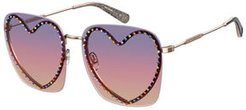Oversized Rimless Sunglasses with Heart-Shaped Frame