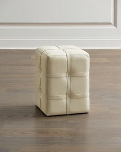 Belted Leather Pouf