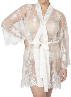 Plus Size Short Embroidered Lace Sheer Robe