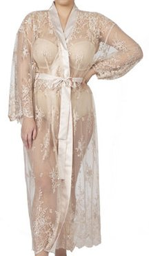 Plus Size Darling Long Embroidered Lace Robe