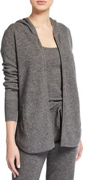 Cashmere Zip-Front Curved-Hem Hoodie