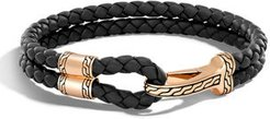 Classic Chain Braided Leather Hook Station Bracelet