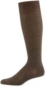 Laburnum Over-the-Calf Ribbed Merino Wool Socks, Size M