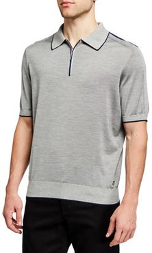 Zip-Front Knit Polo Shirt