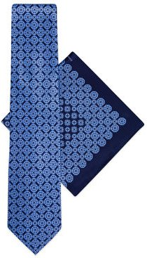Medallion Printed Silk Tie/Pocket Square Set