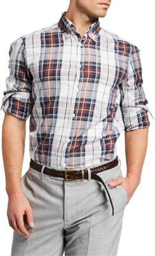 Plaid Cotton-Linen Sport Shirt