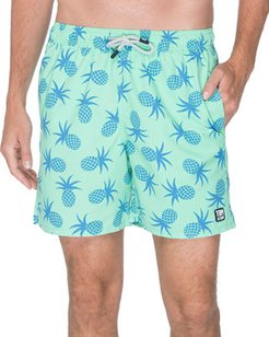 Pineapple-Print Swim Trunks