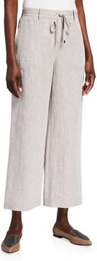 Columbus Illustrious Linen Cropped Wide-Leg Pants