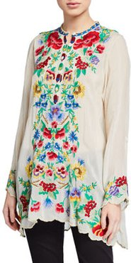 Gala Floral Embroidered Long-Sleeve Tunic