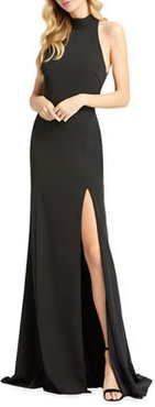 Mock-Neck Sleeveless Jersey Gown with Thigh Slit