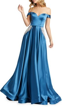 Off-the-Shoulder Embellished Satin Chiffon A-Line Gown